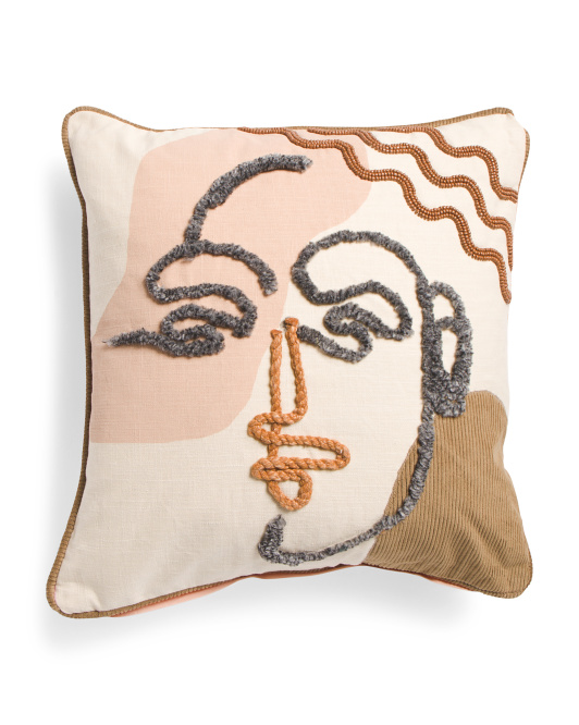 Modern Face Embroidered pillow